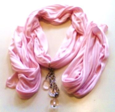 Jewel Scarf in Hint of Pink or Dove with Dangling Jewels