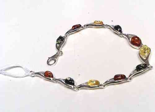 Amber Silver Bracelet, Multi Coloured Amber Stones