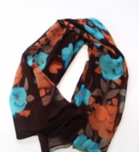 Brown Scarf with Blue and Brown Flowers