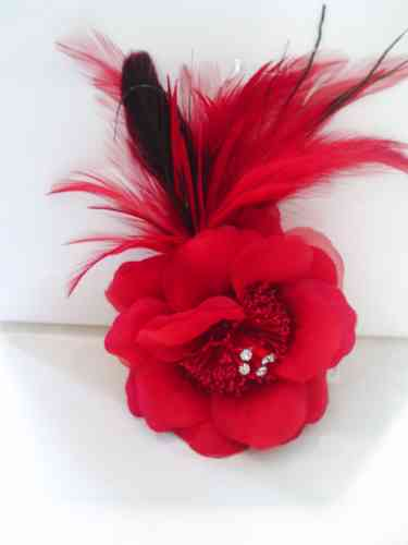 Red Feather Flower Fascinator