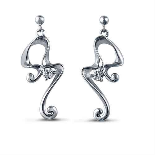 Silver Pattern Squiggle Earrings with CZ