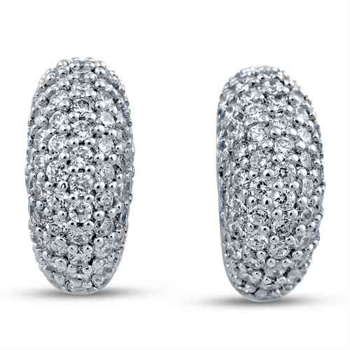 Rhodium Plated Silver Earrings Embedded with White CZ
