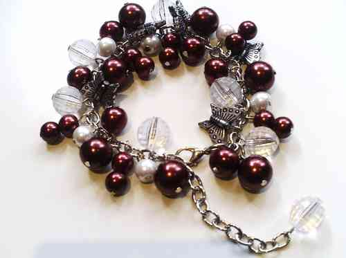 Butterfly & Bead Bracelet with Chain Fastener