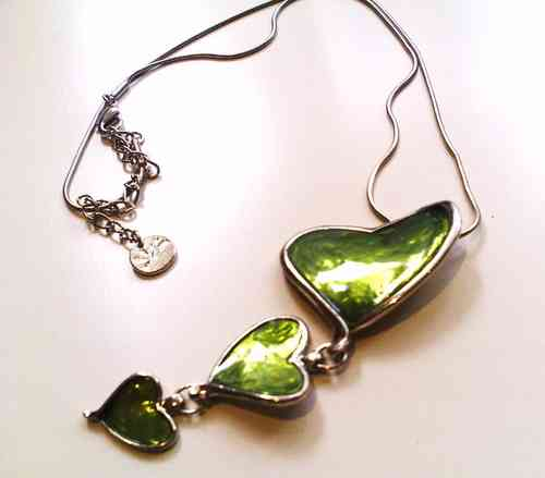 Green Heart Pendant Necklace with Extension Chain