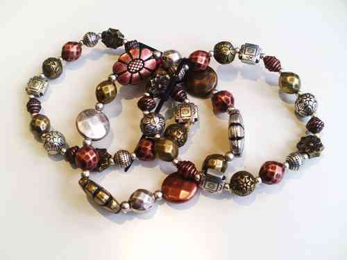 3 Strand Metallic Beaded Bracelet