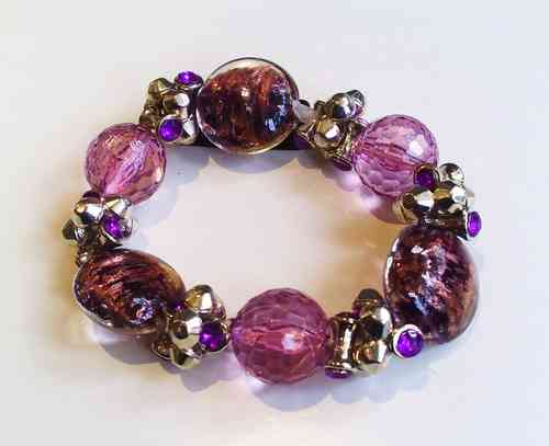 Chunky Purple Bead Stretch Bracelet