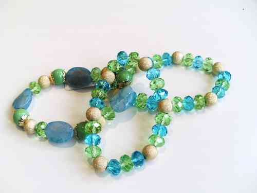 Green, Gold and Blue Bracelet Set of 3