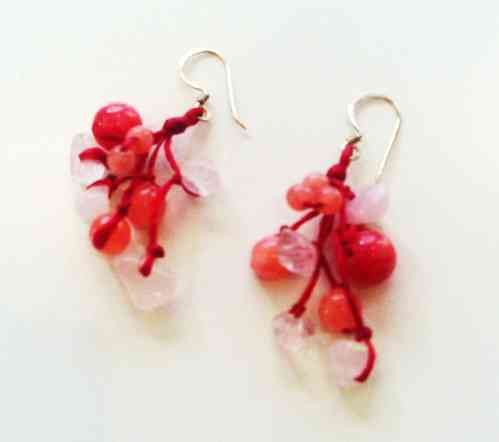 Red Coral and White Beaded Sterling Silver Earrings