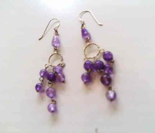 Purple Stone Beads Dangly Earrings