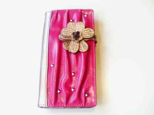 Large Flower Glossy Wallets in Blue Or Black Or Pink Or Green