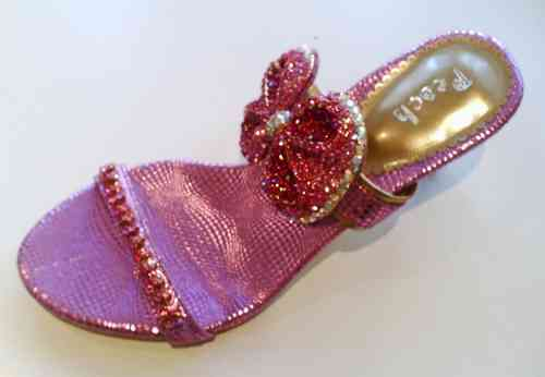 Pink Slip On Fashion Sandals with Large Diamante Bow