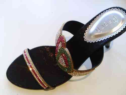 Black Slip On Fashion Sandals with Diamante Heart