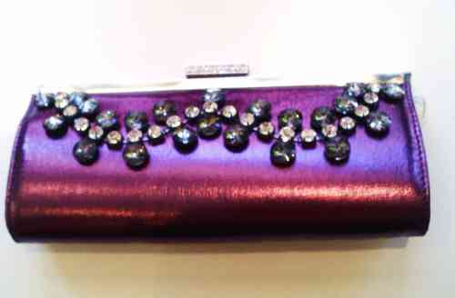 Purple Clutchbag with Diamante String on Front