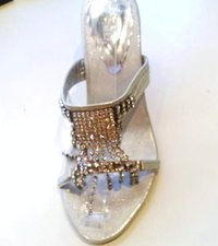 Silver Fashion Sandals with Diamantes