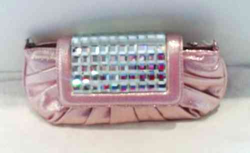 Glitter Effect Clutch Bag with Large Diamante Fastener