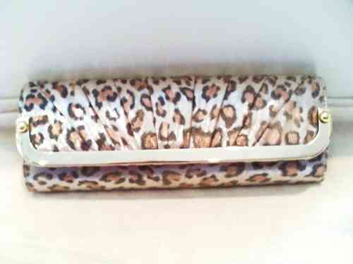 Gold Leopard Print Clutch Bag