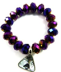 Cut Glass Stretchy Purple Bracelet with Crystal Pendant