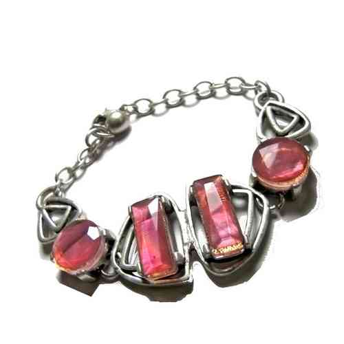 Silver and Resin Bead Feature Bracelet with Pink Stones