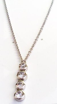 FOUR CRYSTAL DROP NECKLET - Fiorelli Silver