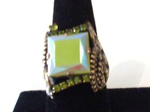 Camee Ring, Green Square Stone Set in Pattern