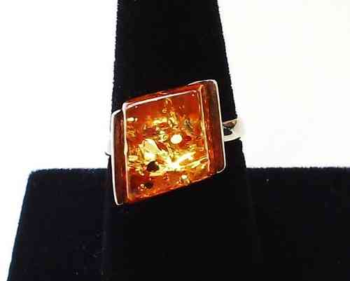Diamond Amber Ring in Silver Setting, Size P
