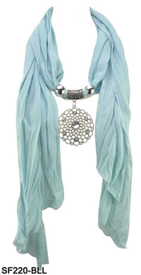 Graceful Fashion Jewellery Scarf with Flower Pendant
