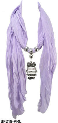 Youth Owl Pendant Lady Jewel Scarf (Different Colours)