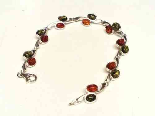 Amber Bracelet with Green Amber, Silver