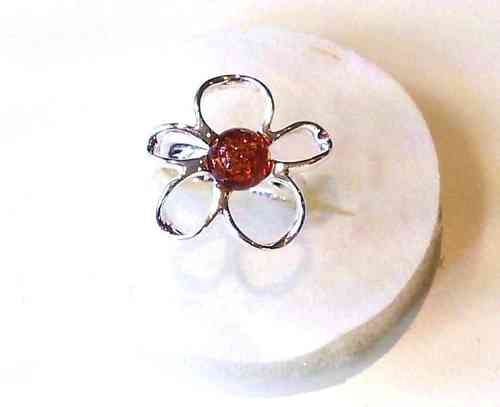 Amber Ring, Silver Flower Ring