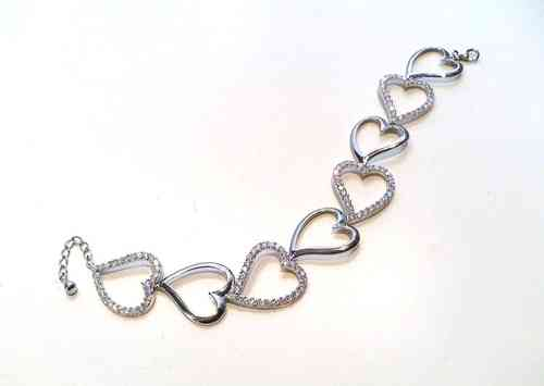 Silver Heart Bracelet with CZ Stones