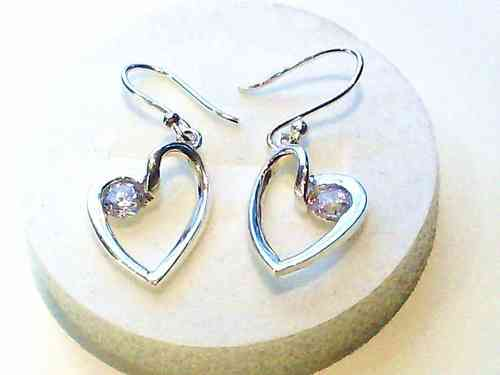 Silver Heart Earrings, Dangles with Diamante
