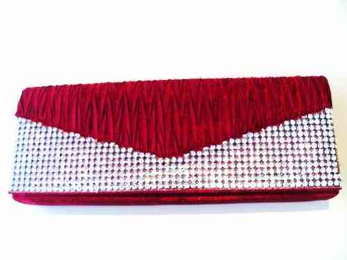 Dark Red Clutch / Red Evening Bag with Diamantes