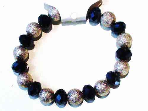 Silver Bead and Haematite Stretch Bracelet