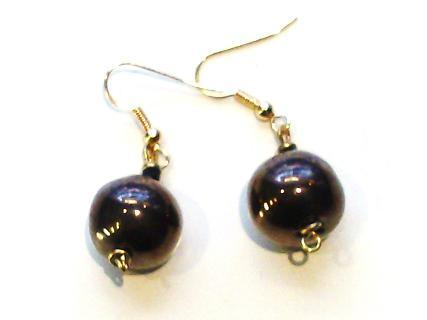 Drop Round Earrings Gold (Antique Gold, like black earrings)