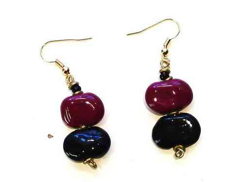 Double Drop Earrings, Black and Burgundy Earrings