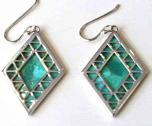 Fiorelli Turquoise and Silver Diamond Shape Earrings