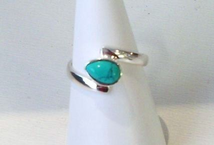 Turquoise Teardrop Silver Ring