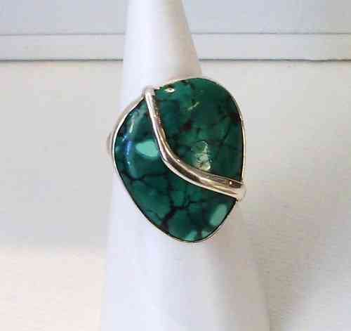 Silver Large Turquoise Ring