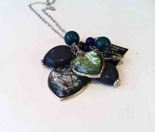 Long Blue Hearts Necklace
