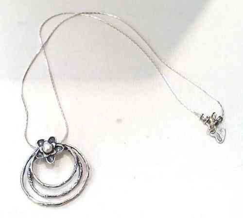 Silver Flower and Circles Pendant