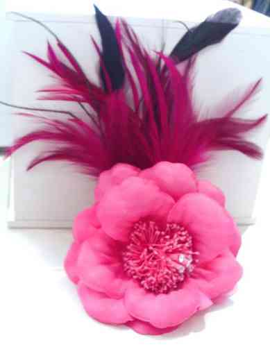 Pink Flower and Feather Fascinator