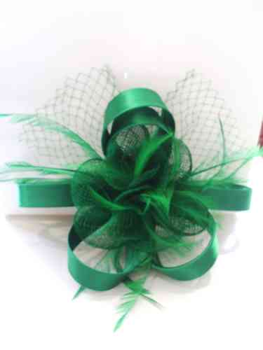 Green Feather and Flower Fascinator