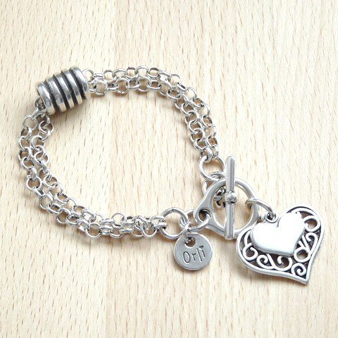 Filigree and Mini Heart Barrel Bracelet