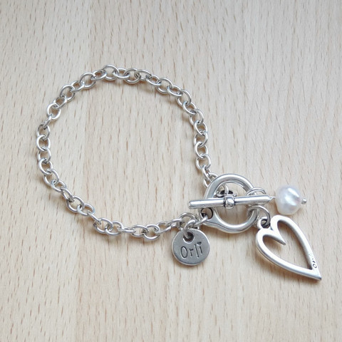 Heart and Pearl Bracelet, Silver Plated
