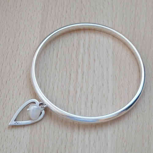 Mini Heart and Pearl Bangle, Silver Plated Bangle