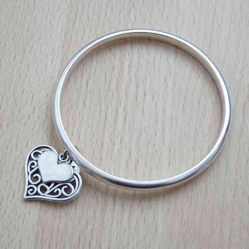 Filigree and Mini Heart Bangle, Silver Plated
