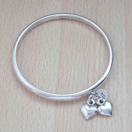 Twin Hearts Silver Bangle, Silver Plated