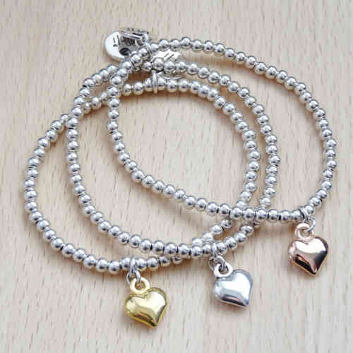 Silver Beads Rose Gold Heart Bracelet