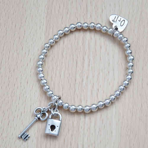 Silver Bead Stretch Bracelet with Key and Padlock