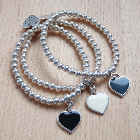 Enamel Heart Beaded Charm Bracelet